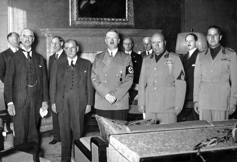 Chamberlain Daladier Hitler Mussolini and Ciano pictured before signing the Munich Agreement which gave the Sudetenland to Germanyjpg