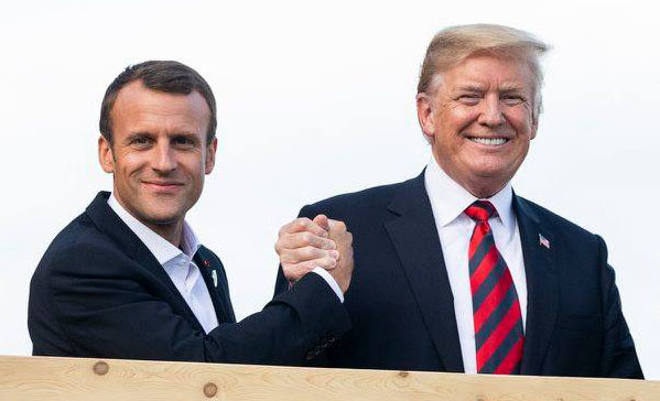 emmanuel macron with donald trump and justin trudeau in la malbaie quebec 2018