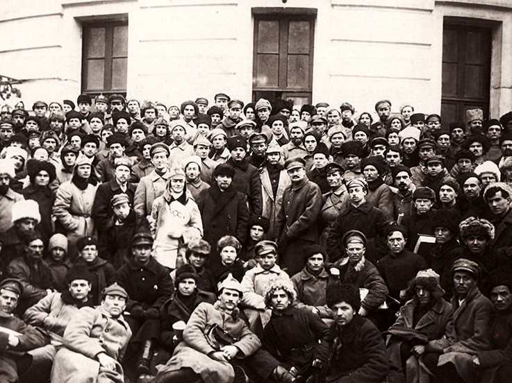 Lenin Trotsky and Voroshilov with Delegates of the 10th Congress of the Russian Communist Party Bolsheviks