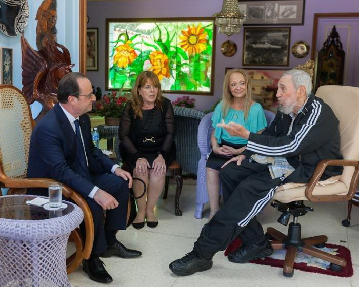 Francois Hollande and Fidel Castro